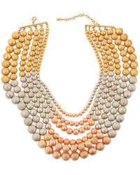 Lydell NYC - Tri-tone Multi-row Beaded Necklace - Lyst