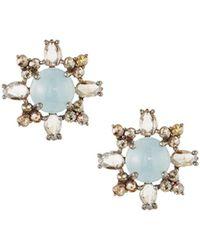 Bavna - Silver Stud Earrings With Champagne Diamonds & Aquamarine - Lyst