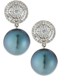 Belpearl - 18k White Gold Diamond-circle & Tahitian Pearl Earrings - Lyst