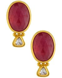 Gurhan Oval Ruby & Diamond Button Earrings J3WMpoK