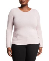 e7319c1a2f53 Lyst - Neiman Marcus Cashmere Basic Crewneck Pullover Sweater in Pink