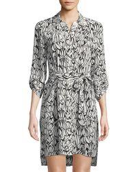 6877234118 Diane von Furstenberg Prita Beaded Silk Shirtdress in Blue - Lyst