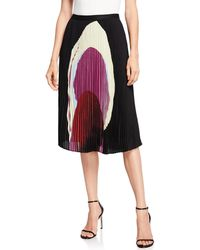 Joan Vass - Pleated Graphic Midi Skirt - Lyst