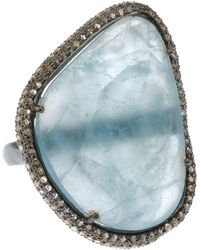 Bavna - Silver Ring With Aquamarine & Diamonds - Lyst