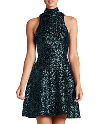 Dress the Population - Stevie High-neck Sequin Fit & Flare Dress - Lyst