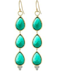 Jude Frances - 18k Gold Triple Emerald Quartz Teardrop Earrings - Lyst