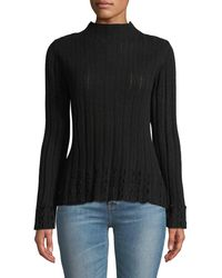 Quinn - Rib And Pointelle Mock-neck Sweater W/ Velvet Fringe - Lyst
