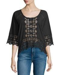 Nightcap - Lace-inset Half-sleeve Blouse - Lyst