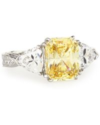 Fantasia by Deserio | Emerald-cut Canary & Clear Trillion-cut Cz Crystal Ring | Lyst