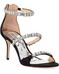e07456e93c55 Badgley Mischka - Yasmine Crystal-strap Satin Sandals - Lyst