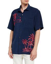 Tommy Bahama Men's Las Playa Palms Embroidered Silk Camp Sport Shirt - Blue