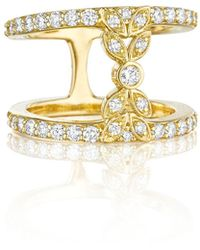 Penny Preville | 18k Yellow Gold Pave Diamond Double-band Bow Ring | Lyst