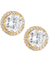 Fantasia by Deserio - 22k Gold-plated Cz Stud Earrings - Lyst