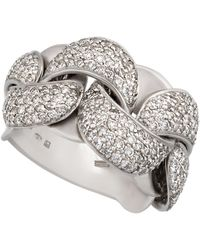Chimento - 18k White Gold Diamond Pave Curb-link Ring - Lyst