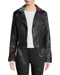 C&C California | Floral-embroidered Moto-style Jacket | Lyst