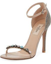 5bd3a7d7ce9 Lyst - Rene Caovilla Crystal Jeweled Block-heel Sandal in Blue