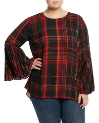 Vince Camuto Signature - Plaid Pleated Bell-sleeve Blouse - Lyst