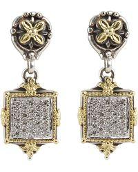 Konstantino | Asteri Pave White Diamond Square Double-drop Earrings | Lyst