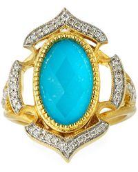 Jude Frances | Malta 18k Diamond & Turquoise Doublet Ring | Lyst