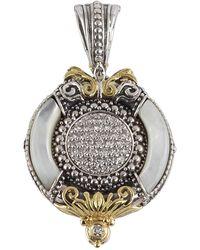 Konstantino - Asteri Ornate Round Pendant W/ Pave White Diamonds & Mother-of-pearl Inlay - Lyst