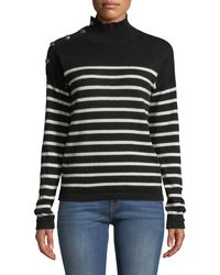 Neiman Marcus - Striped-cashmere Mock-neck Button-sleeve Sweater - Lyst