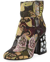 Kenneth Cole Rosie Jewelled Block-heel Brocade Booties - Multicolour