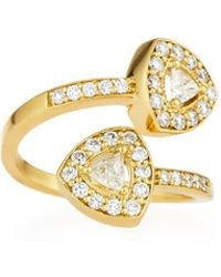 Penny Preville - 18k Trillion-cut Diamond Bypass Ring - Lyst