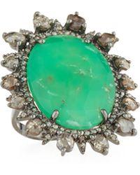 Bavna - Green Chrysoprase & Diamond Ring - Lyst