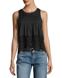 Chloe Oliver - Pintucked Crochet-lace Tank - Lyst
