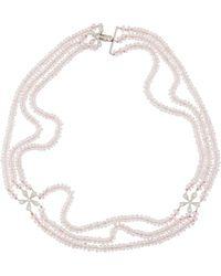 Cathy Waterman - Estate Platinum Diamond Daisy & Rose Quartz Necklace - Lyst
