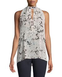 Laundry by Shelli Segal - Floral Halter-neck Sleeveless Blouse - Lyst