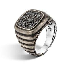 John Hardy Men's Bedeg Linear Square Black Sapphire Ring Size 10