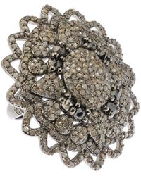 Bavna - Silver Flower Ring With Black & Champagne Diamonds Size 6.5 - Lyst
