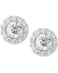 Neiman Marcus - 18k White Gold Diamond Stud Earrings - Lyst