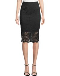Nicole Miller - Lace Pencil Skirt - Lyst