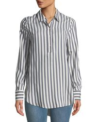 Philosophy - Shadow Striped High-low Woven Blouse - Lyst