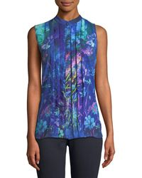 T Tahari - Floral Pleated-front Blouse - Lyst