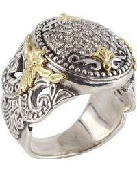 Konstantino - Asteri Ornate Round Pave White Diamond Ring - Lyst