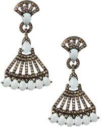 Bavna - Silver Drop Earrings With Champagne Diamonds & Aquamarine - Lyst