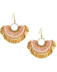 Nakamol - Bead Layered Half-circle Drop Earrings Peach - Lyst