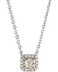 Neiman Marcus - 14k White Gold Diamond Cushion Solitaire Pendant Necklace 0.3tcw - Lyst