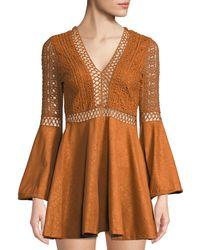 Haute Rogue - Elle Crochet And Faux-suede Flare Dress - Lyst