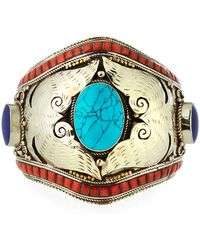 Devon Leigh - Turquoise Coral & Lapis Cuff Bracelet - Lyst