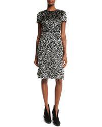 Burberry Brit - Ocelot Short-sleeve Animal-print Feathered Dress - Lyst