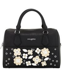 Karl Lagerfeld - Willow Saffiano Flower Applique Satchel Bag - Lyst