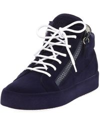 Giuseppe Zanotti - Flocked Suede Mid-top Sneakers - Lyst