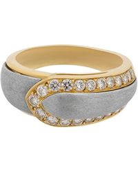 Van Cleef & Arpels - Estate 18k Yellow Gold & Steel Diamond Ring Size 8.75 - Lyst