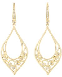 Penny Preville - 18k Teardrop Scroll Diamond Drop Earrings - Lyst