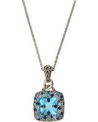 John Hardy - Batu Klasik Small Square Pave Pendant Necklace In Sea Colorway - Lyst
