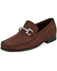 Ferragamo - Men's Grandioso Slip-on Suede Loafers - Lyst